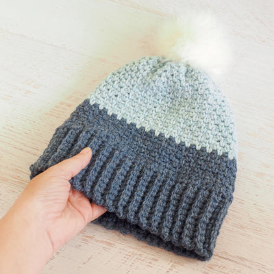 Moss Stitch Beanie Hat Crochet Pattern