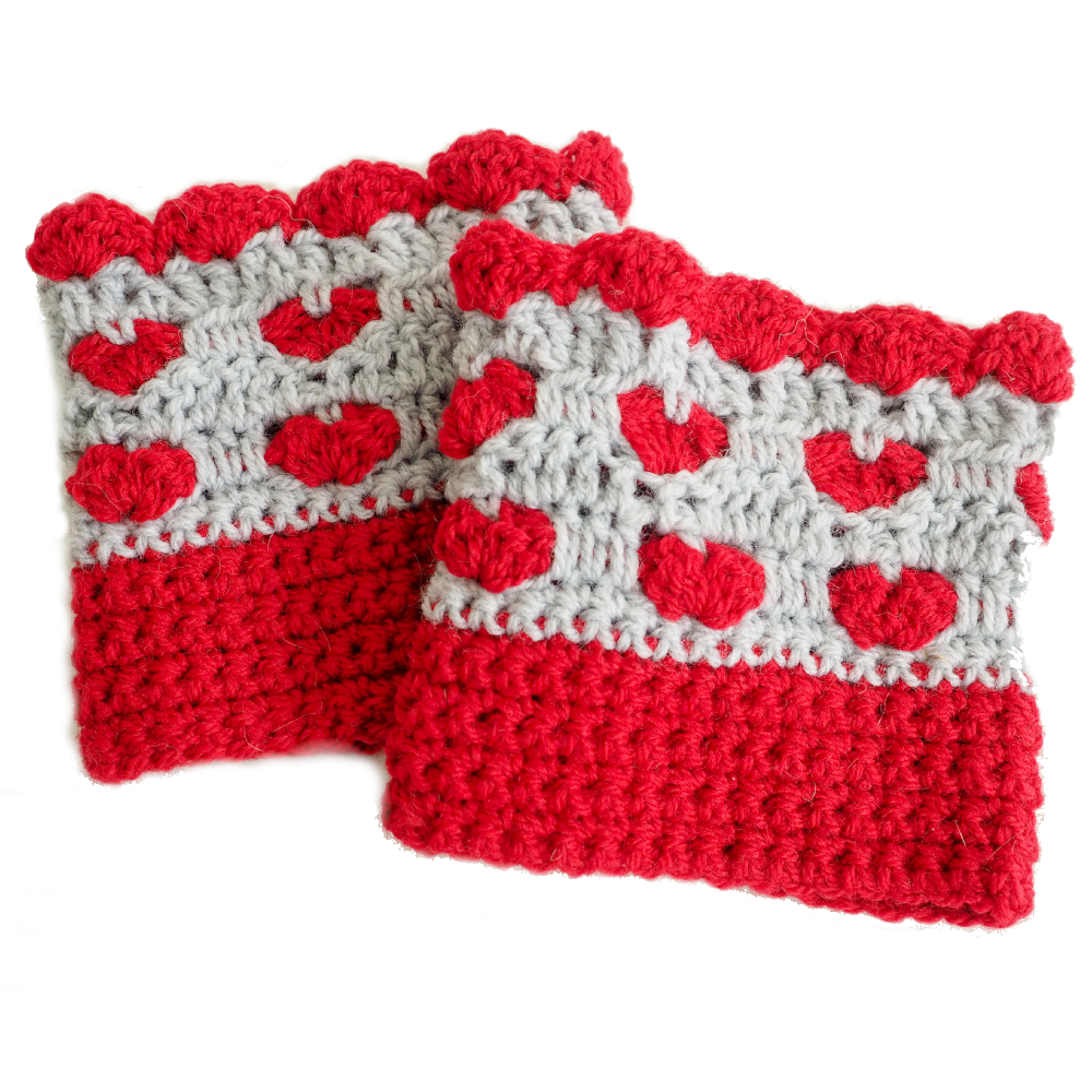 Sweetheart Boot Cuffs Crochet Pattern Dollar Yarn Club Store