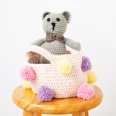 Girls Pom Pom Storage Basket Crochet Kit