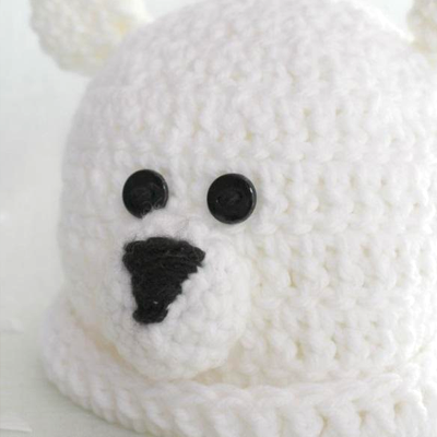 Preemie Newborn Polar Bear Hat Crochet Pattern