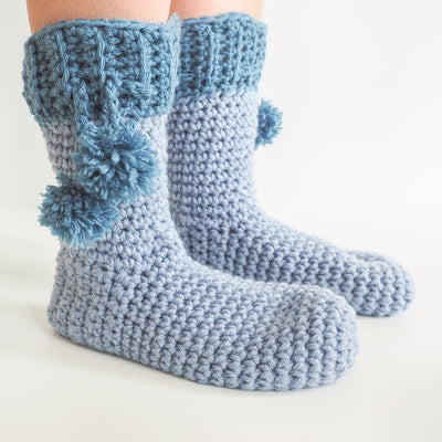 Pom Pom Slipper Socks Crochet Kit