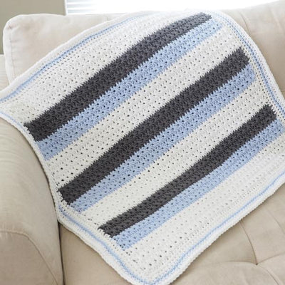 Star Stitch Striped Baby Blanket Crochet Pattern