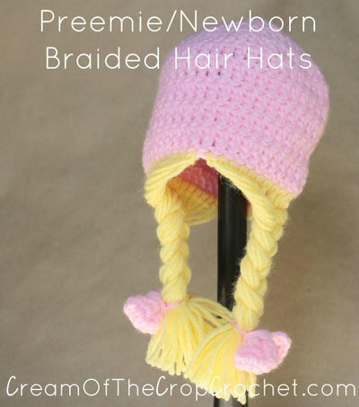 Preemie Newborn Braided Hair Hat Crochet Pattern