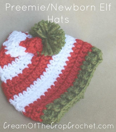 Preemie Newborn Elf Hat Crochet Pattern