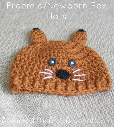 Preemie Newborn Fox Hat Crochet Pattern