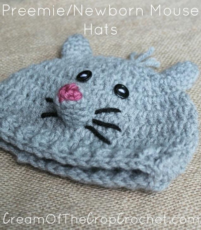 Preemie Newborn Mouse Hat Crochet Pattern