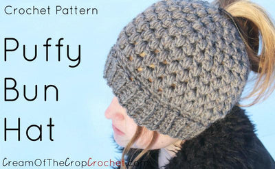 Makenzie Puffy Bun Hat Crochet Pattern