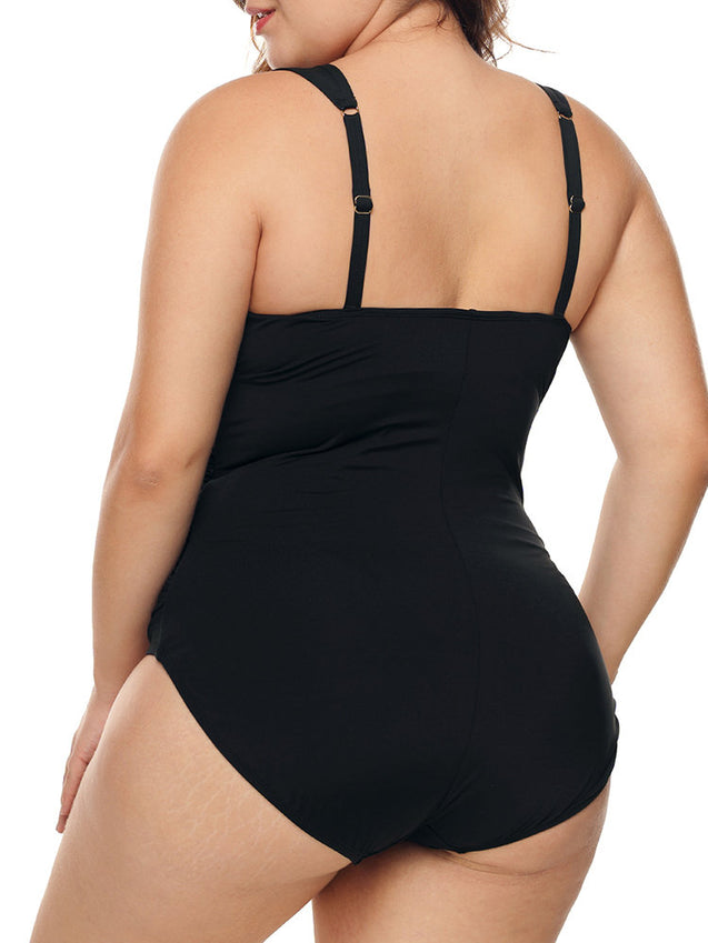 Plus Size Front Twisted Retro Solid Color Backless One Piece Swimwear