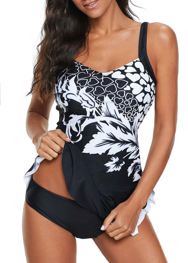 Ruffle Detail Scoop Back Printed Swimdress and Panty