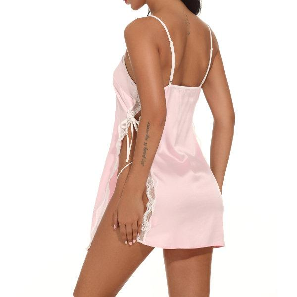 Lingerie Women Satin Sleepwear Lace Chemise Nightgown