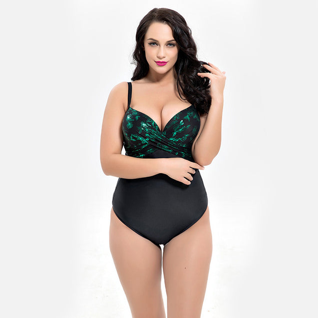 Plus Size Women Sexy Printed One-piece Swimwear