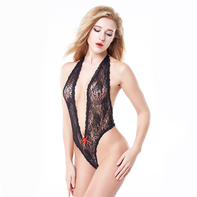 Sexy Deep V Lace Babydoll Lingerie
