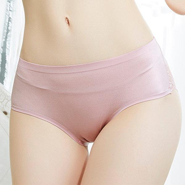 Sexy Lace Seamfree Breathable Soft Mide Waist Panties For Women