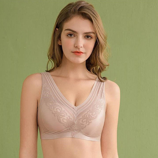 Seamless Lace Sexy Beauty Back Wireless Yoga Bra