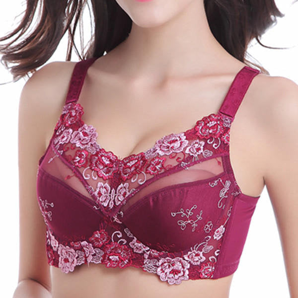 Lace Embroidered Push Up Unlined Full Busted Bras