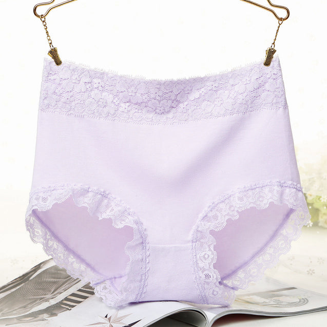 High-waist Lace Side Breathable Cotton Underwear