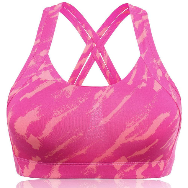 Camouflage Wireless Lightly Lined Criss Cross Sports Bra