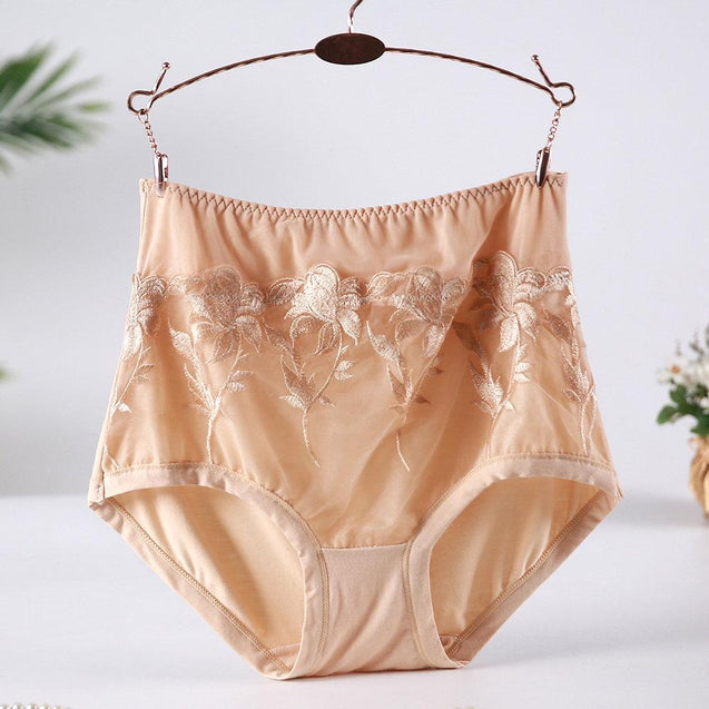 High Waisted Embroidery Lace Full Hip Breathable Panties