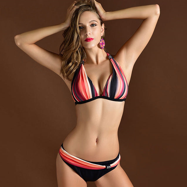 Plus size Sexy Padded Adjustable Shoulder Strap Striped Bikini Summer Swimsuit