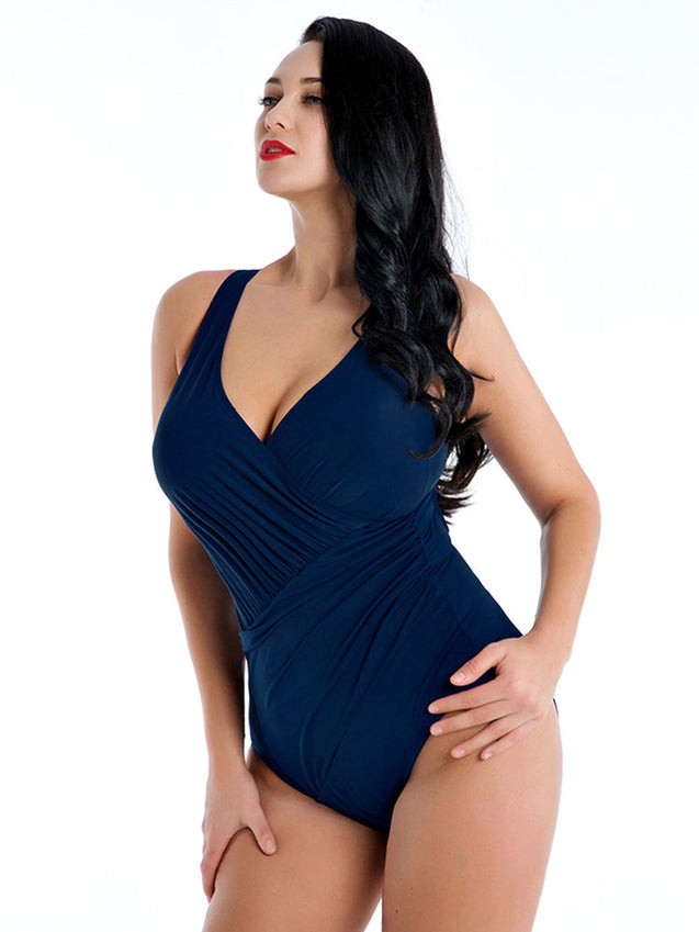 Plus Size Slimming One Piece Swimwear Ruffled Cover Belly Women Bathing Suits