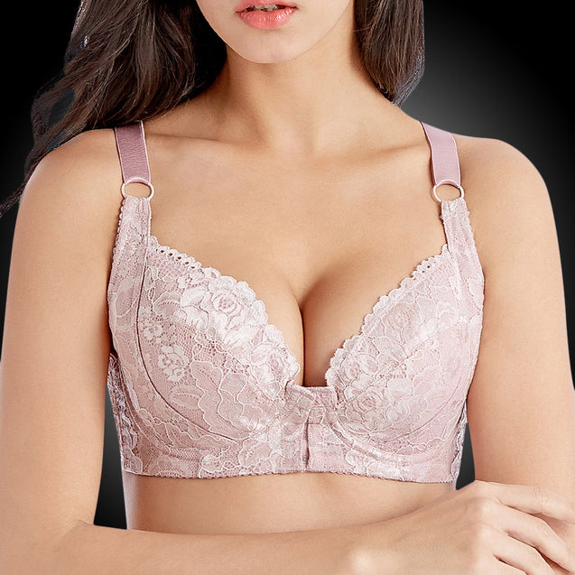 Front Closure Push Up Busty Embroidery Unlined Bras