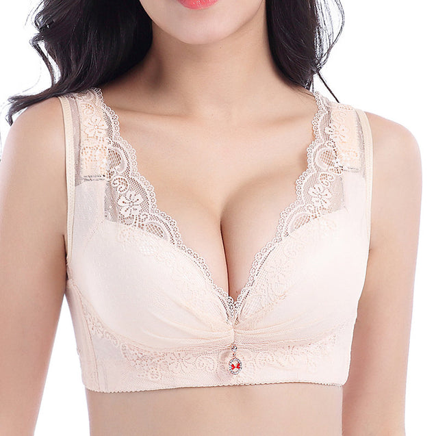 Deep Plunge Busty Lace Side Support Wireless Bras