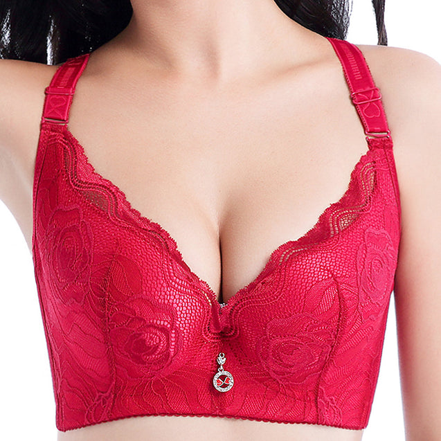 Embroidery Gather Cotton Lining Push Up Bra
