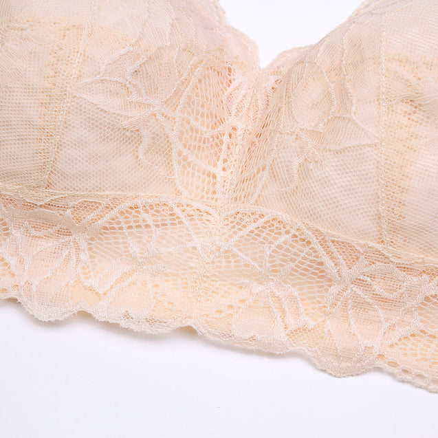 Wireless Embroidery Breathable Gather Cotton Lining Thin Full Busty Bra
