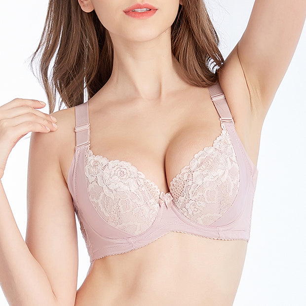 Full Cup Adjustment Bra - Pink/ Red