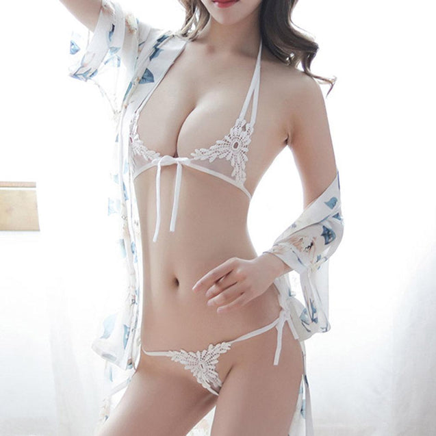 Sexy Transparent Bandage Floral Bra And Panty Set