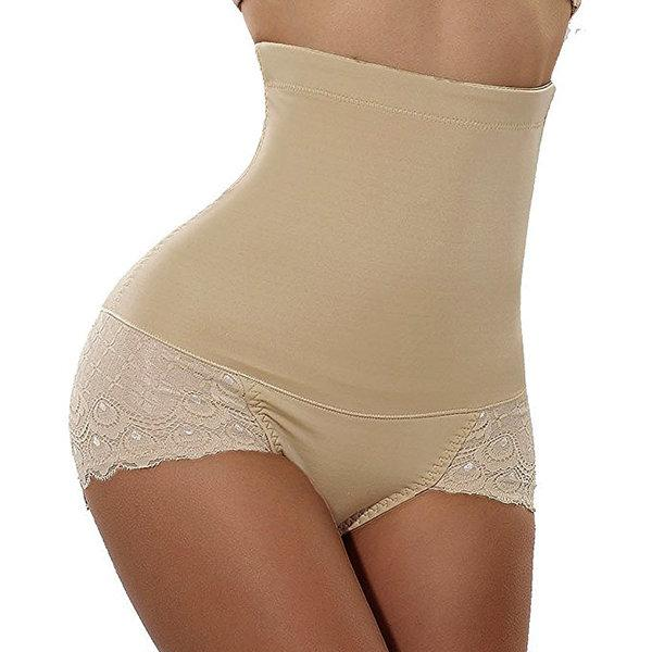 High Waist Lace-trim Hip Lifting Shapewear Panties