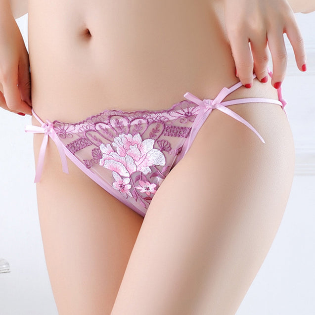 Embroidery Bowknot Print Lace Perspective Panty Sexy Lingerie