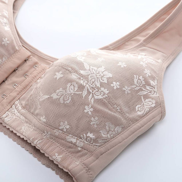 Front Closure Wireless Mastectomy Full Cup Jacquard Bras