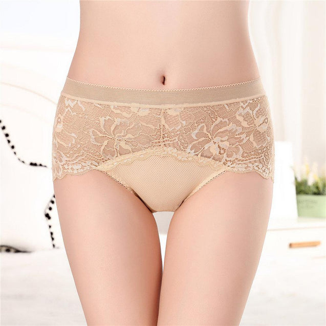 Lace Seamless Cotton Crotch Hip Lifting Mid Rise Panties