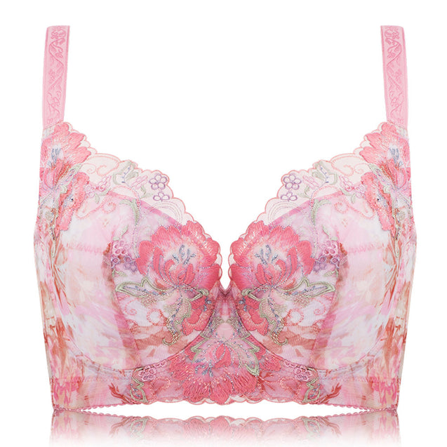 Push Up Embroidery Side Support Bra