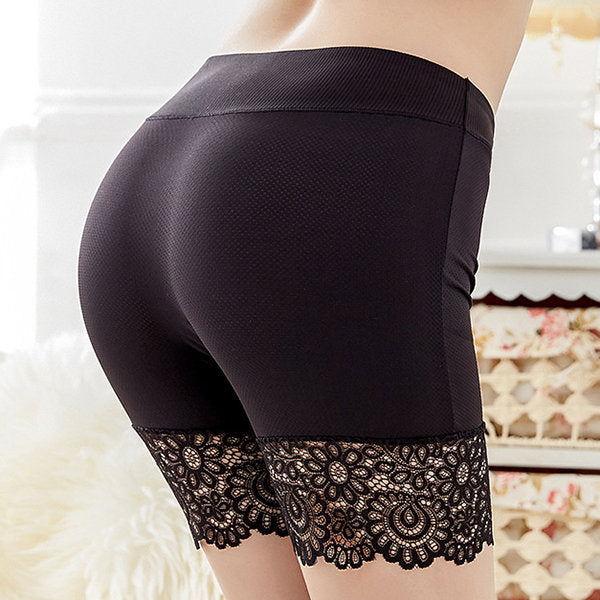 Lace-trim Seamless Boyshort Underwear Hip-lifting Stretchy Breathable Panties