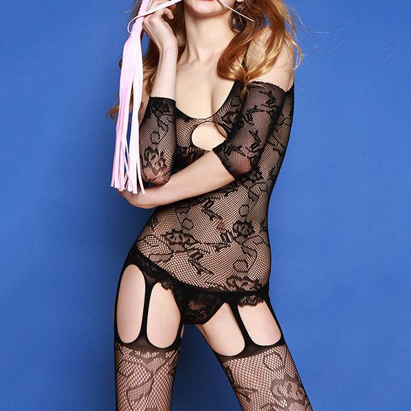 Sexy Transparent Breast Jacquard Hollow Out Nightwear