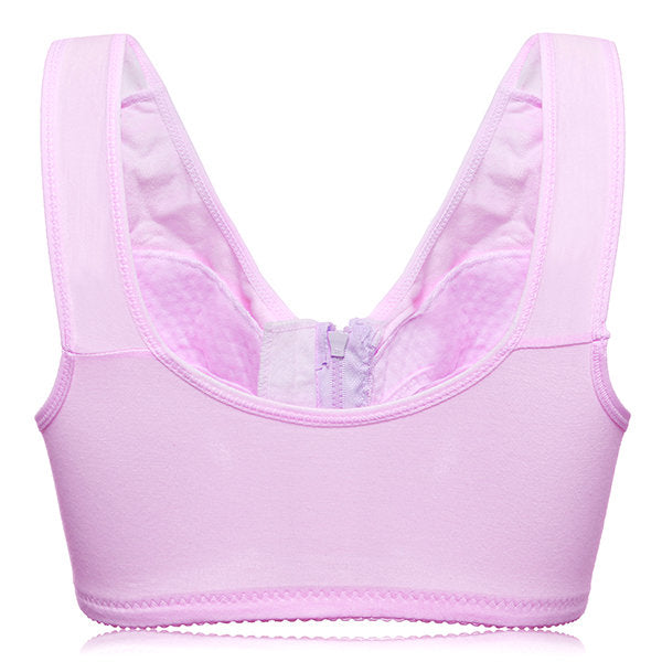 Front Zipper Cotton Full Coverage Soft Wireless Bras
