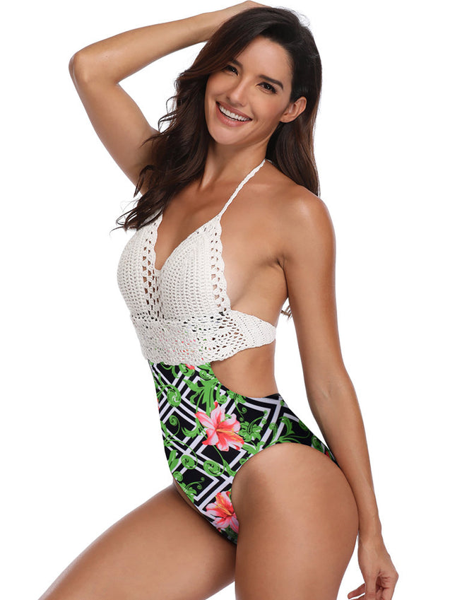 Sexy Swimwear Knitting Halter Patchwork Floral Backless One Piece For Women