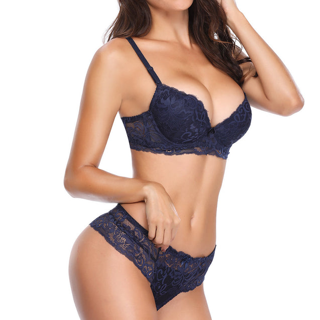 Push Up Lace Embroidered Lightly Lined Deep Plunge Bra Set