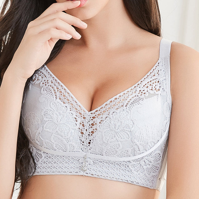 Embroidery Antibacterial Gather Cotton Lining Breathable Bra