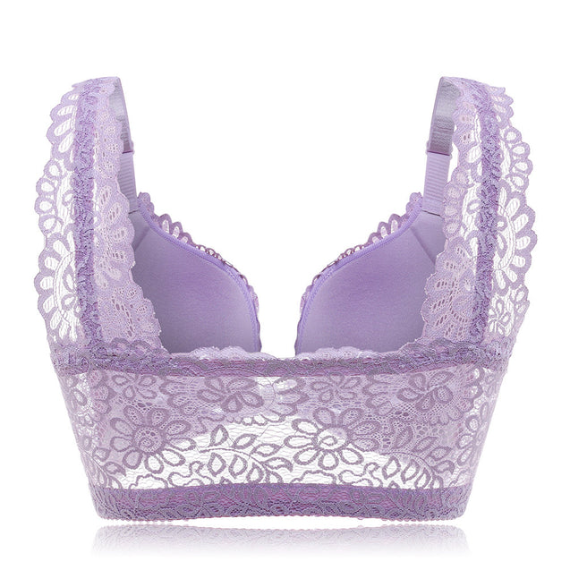 New Sexy Wireless Front Closure Lace Embroidery Soft Bras
