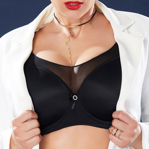 Push Up Seamless Full Cup Gather Thin Black Bra
