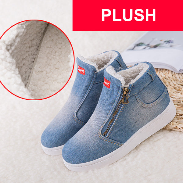 Women Casual Denim Cloth Plush Lined Zipper Flat Ankle Boots