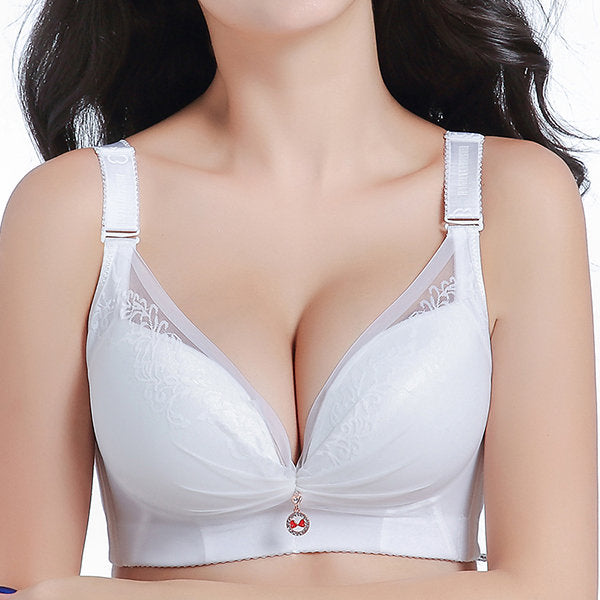 Sexy Deep Plunge Breathable Embroidery Gather Wireless Bra