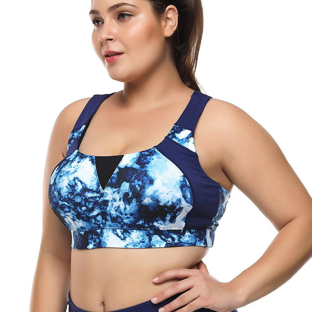 Print High Support Wireless Criss Cross Back Sports Bra