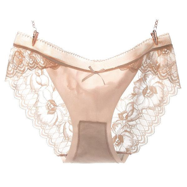 Sexy Hollow Lace Cotton Crotch Mid Waist Panties