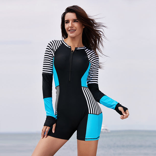 Striped Sunscreen Zipper One-piece Swimsuit