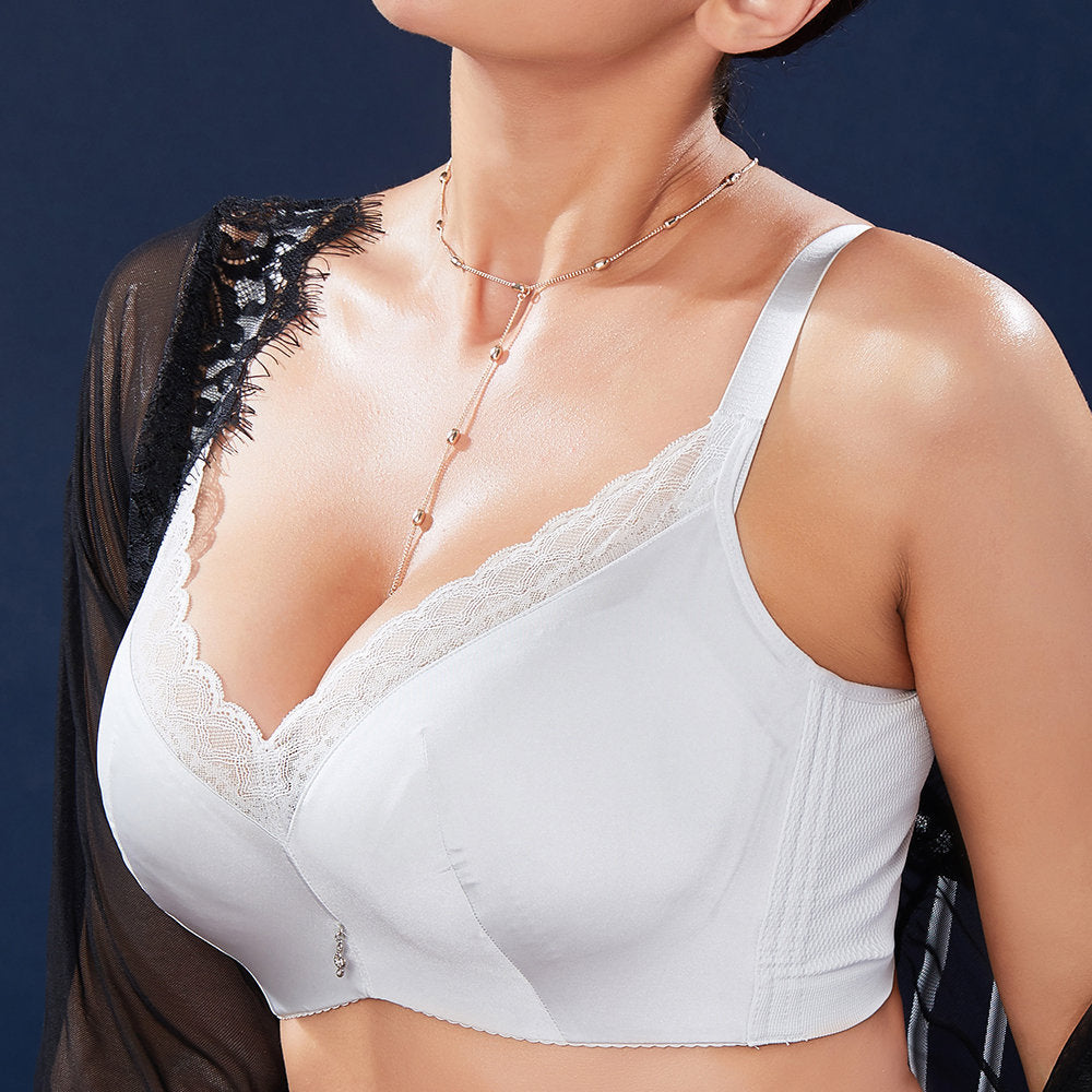 aaace78d0a B~J Cup  Plus Size Push Up Lace-trim Side Support Bra - CYANXIII