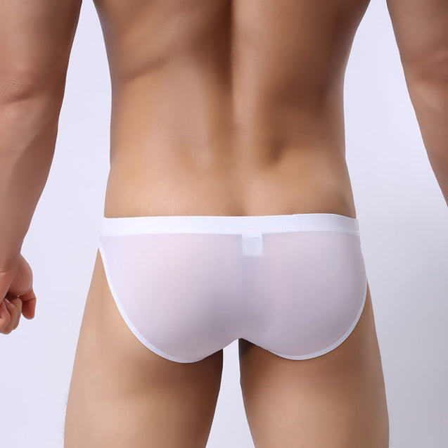 Mens Ultra Thin Transparent Ice Silk Briefs Low Waist Sexy Underwear